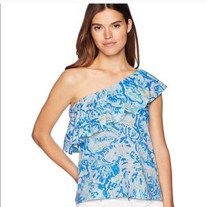 Lily Pulitzer One shoulder Matteo Salty Sea SZ  XS
